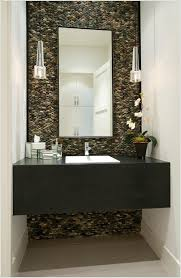 bathroom accent wall ideas cover the wall behind the bathroom vanity with pebble tiles 13