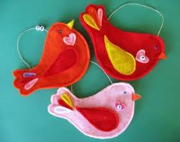 bird in everything felt bird ornaments