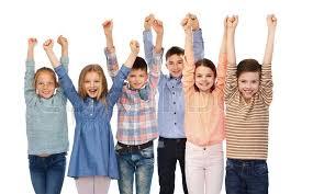 childhood fashion gesture and concept happy children