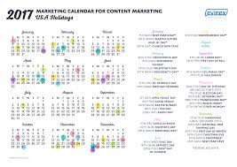 2017 marketing calendar with usa holidays infographic evinex