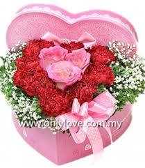 flowers gift heart shape flower gift box sameday flower delivery to malaysia
