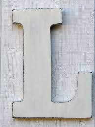 baby nursery initial rustic wooden letter l distressed in
