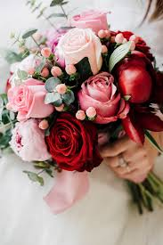 bridal flower pink white bouquets for a s day themed wedding