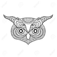 Patterned Flying Owl Drawing Illustration Eagle Owl Anti Stress Coloring Page Black White
