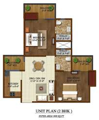 2 bhk size 900 sq ft apartment floor plan