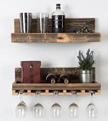 Wooden Shelves Pics by Reclaimed Wood Floating Shelf U0026 Wine Rack Set Wine Key Wine