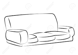 sofa freehand drawing icon black and white vector illustration