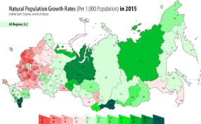 russia map by population demographics of russia