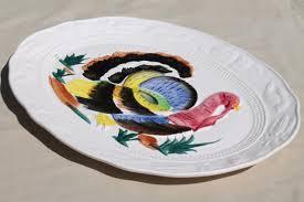 ceramic turkey platter thanksgiving turkey platter 70s 80s painted ceramic tray