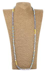long beads necklace images Handmade double knotted 8x6mm crystal with metal beads necklace 36 jpg