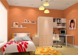 Orange Walls 3d Rendering Orange Walls And Yellow Chandelier 3d House
