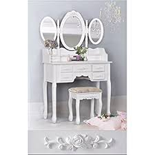 Vanity Dresser With Mirror Amazon Com White 3 Piece Wood Make Up 3 Mirror Vanity Dresser