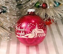 silent night pink shiny brite vintage 1950 u0027s glass stenciled
