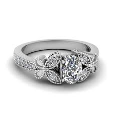 butterfly engagement ring white gold oval white engagement wedding ring in pave set