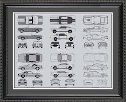 wall blueprints ford mustang automobile blueprint art wall hanging auto car gift