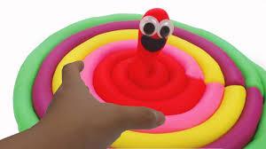 learn colors play doh rainbow earthworm learn colors kinetic sand