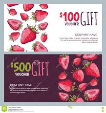 vector gift voucher summer design with red strawberries business