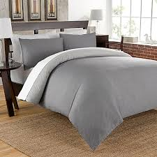 cotton chambray reversible duvet cover set in charcoal bed bath