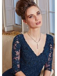 4 length sleeve chiffon and lace long blue mother of the bride