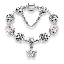pandora style necklace silver images Pink daisy 925 silver plated pandora style beaded charm bracelet jpg