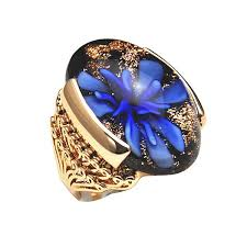 big male rings images Fg 2014 brand new high quality rose gold plated blue flower glass jpg