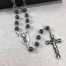 hematite rosary 8mm st michael hematite rosary