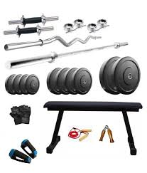 Buy Flat Bench Aurion 30 Kg Home Gym With Dumbbells Flat Bench 2 Rods Push