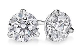 gold diamond stud earrings three prong martini diamond stud earrings in 14kt white
