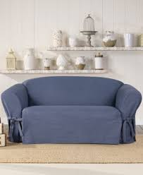T Cushion Loveseat Slipcover Sure Fit Authentic Denim One Piece T Cushion Sofa Slipcover