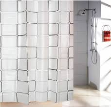 Waterproof Blinds Curtains Plastic Shower Curtain With 12 Hooks Black U0026 White Grid