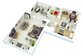 25 more 3 bedroom 3d floor plans l shaped house with car garage