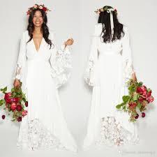 simple bohemian counrtry wedding dresses long sleeves deep v neck
