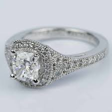 art deco halo cushion diamond engagement ring 1 05 ct