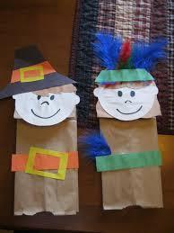 thanksgiving pilgrims and indians bag puppet craft preschool