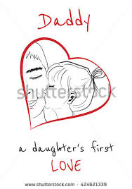 daddy daughters first love daughter kissing stock vector 424621339