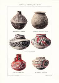 1903 native american indian pottery print vintage antique