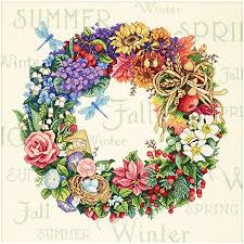 wreath of all seasons counted cross stitch kit 14 x 14