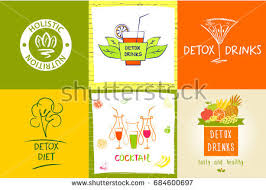 set logo detox water drink diet stock illustration 684600697