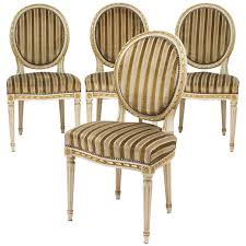 Dinette Chairs by Gold Leaf Striped Velvet Louis Xvi Dining Chairs Jean Marc Fray