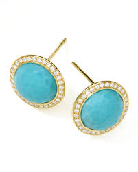 turquoise studs ippolita gold rock candy lollipop diamond turquoise stud earrings