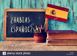 The Flag In Spanish A Chalkboard With The Question Hablas Espanol Do You Speak