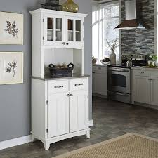 homestyles com shop home styles white stainless steel wood kitchen hutch at lowes com