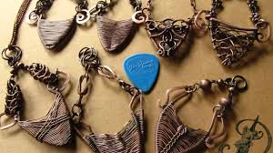 guitar necklace pendants images Wire wrapped guitar pick holder reversible pendants by deeartist jpg