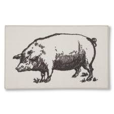 grey and ivory pig kitchen rug