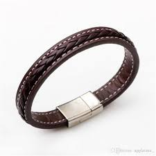 men black leather bracelet images Braided punk bracelets men steel leather bracelet mens black brown jpg