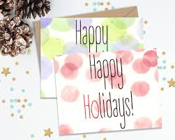 happy holidays greeting cards card set