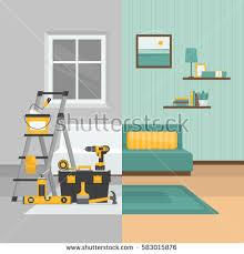 Interior Repair Room Before After Repair Home Interior Stock Vector 583015876