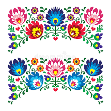 floral folk embroidery patterns for card royalty free stock