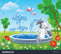 beautiful vector drawing park fountain angel stock vector