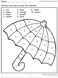 color by number kindergarten free coloring pages throughout colors